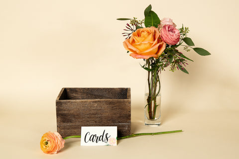Wood Card Holder - 'Floral' Sign