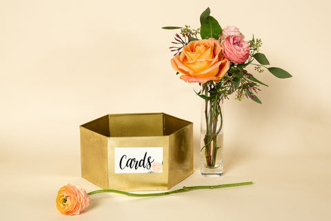 Gold Hexagon Card Holder - 'Floral' Sign