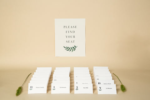 Place Cards, Printable Template - 'Greenery' Design