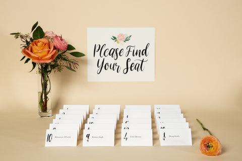 Place Cards, Printable Template - 'Floral' Design
