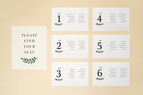 Seating Chart, Printable Template - 'Greenery' Design