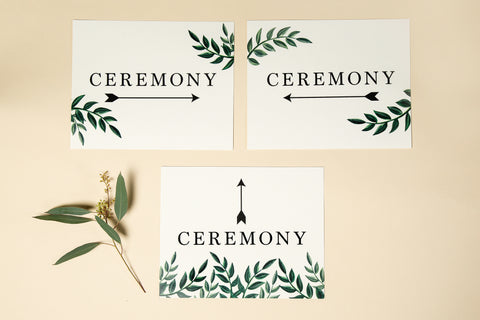 Wedding Signage - 'Greenery' Design