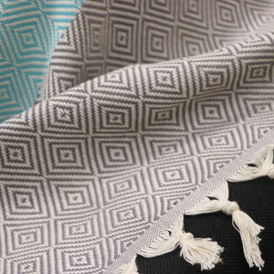 Trimita - Throw Blanket | Green Turquoise & Grey | 200x240 cm