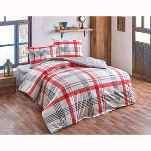 Brielle Atlas Duvet Cover Set (4 pcs) - Double Size - Red
