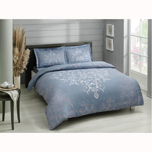 Anissa - Cotton Satin Duvet Cover Set (4 pcs) - Double Size - Blue