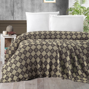 Throw Plaid - Bedsprei Soft Yellow & Coffee Material: 100% Cotton (OEKO-TEX Certified)