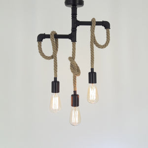 Retro Industrial Hanging Lamp - Metal Pipe with Manila Rope Finishing Chandelier 3 Bulbs HT026