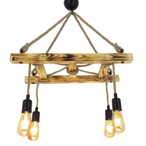 Industrial Hanging Lamp - Wooden Ladder Rope Chandelier HT142