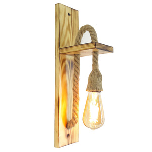 Fienzi | Industrial Style, Retro Wall Lamp - Wooden Rope Wall Lamp HT162