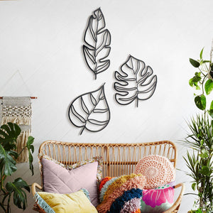 Hoagard Animula Three Leaves Metal Wall Art | Geometric Metal Wall Art & Wall Decoration