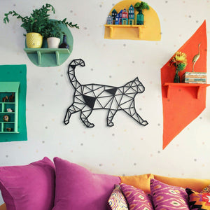 Hoagard Cat Metal Wall Art | Geometric Metal Wall Art & Wall Decoration