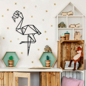 Hoagard Flamingo Metal Wall Art | Geometric Metal Wall Art & Wall Decoration