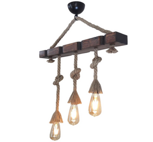 Hanging Lamp - Chandelier Wood Ladder 3 Lamps