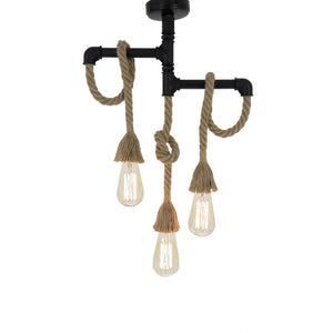 Hanging Lamp - Wooden Rope Chandelier 3 Bulbs