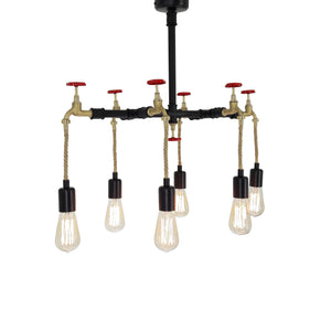 Fienzi | Vintage Black Water Pipe Ceiling Pendant 6 Light with Red Valve | Steampunk Lamp Chandelier | Rustic Light fixtures in Metal + Hemp Rope Hanging Lamps E27 | 75x35x45 cm | Industrial Lighting HT045