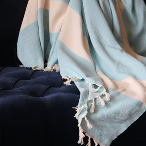 Trimita - Throw Blanket | Natural & Turquoise | 200x240 cm