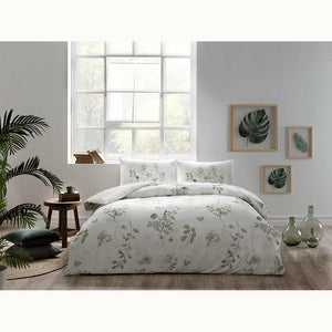 Linens Delfina - Cotton Satin Duvet Cover Set 4 pcs - Green