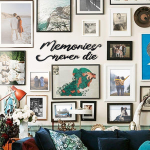 Hoagard Metal Wall Art | Memories Never Die | Typographic Wall Decor