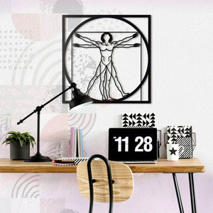Hoagard Da Vinci - Vitruvian Man Metal Wall Art | Geometric Metal Wall Art & Wall Decoration