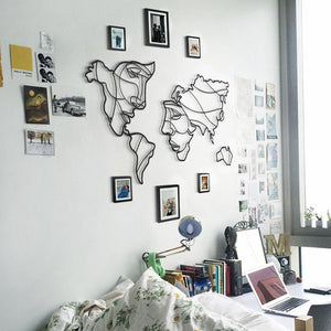 Hoagard Faces of World Map Metal Wall Art | Wall Decoration & Geometric Metal Wall Art