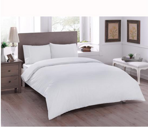 Basic Ranforce Duvet Cover Set - Double Size - White
