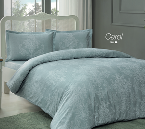 Carol Cotton Satin Duvet Cover Set 4 pcs - Double Size - Mint