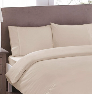 Basic Line - Cotton Duvet Cover Set (4 pcs)- Double Size - Beige