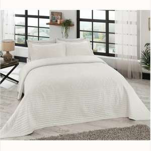 France Quilted Jacquard Bedspread Set (3 Pieces)- Ecru