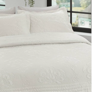 France Quilted Jacquard Bedspread Set (2 Pieces)- Ecru - 180x240 cm - Singe