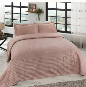 France Quilted Jacquard Bedspread Set (3 Pieces)- Pink