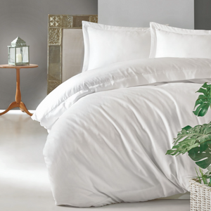 Linens Cotton Satin Duvet Cover Set - White