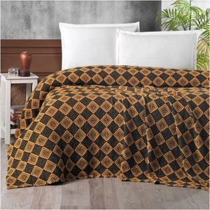 Athena Throw Plaid - Bedspread - Brown & Orange