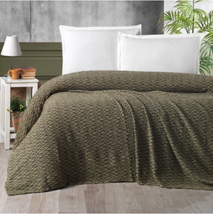 Athena | Throw Plaid - Bedspread - Brown & Olive Green