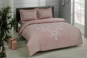 Anissa - Cotton Satin Duvet Cover Set 4 pcs - Double Size- Dusty Rose