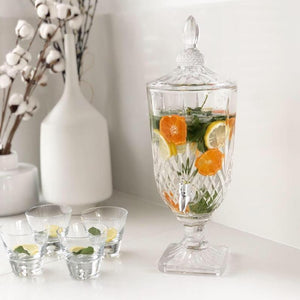 Clear Glassware Wine/Water/Juice drink Dispenser with Tap and Lid 3L | Glass Beverage Dispenser