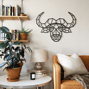 Hoagard Bull Head Metal Wall Art | Geometric Metal Wall Art & Wall Decoration