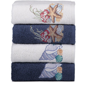 Sarar Foça Embroidery Towel Set, 4 Pieces, 50x50 cm