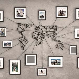Hoagard World Map Black Metal Wall Art | Wall Decoration & Geometric Metal Wall Art