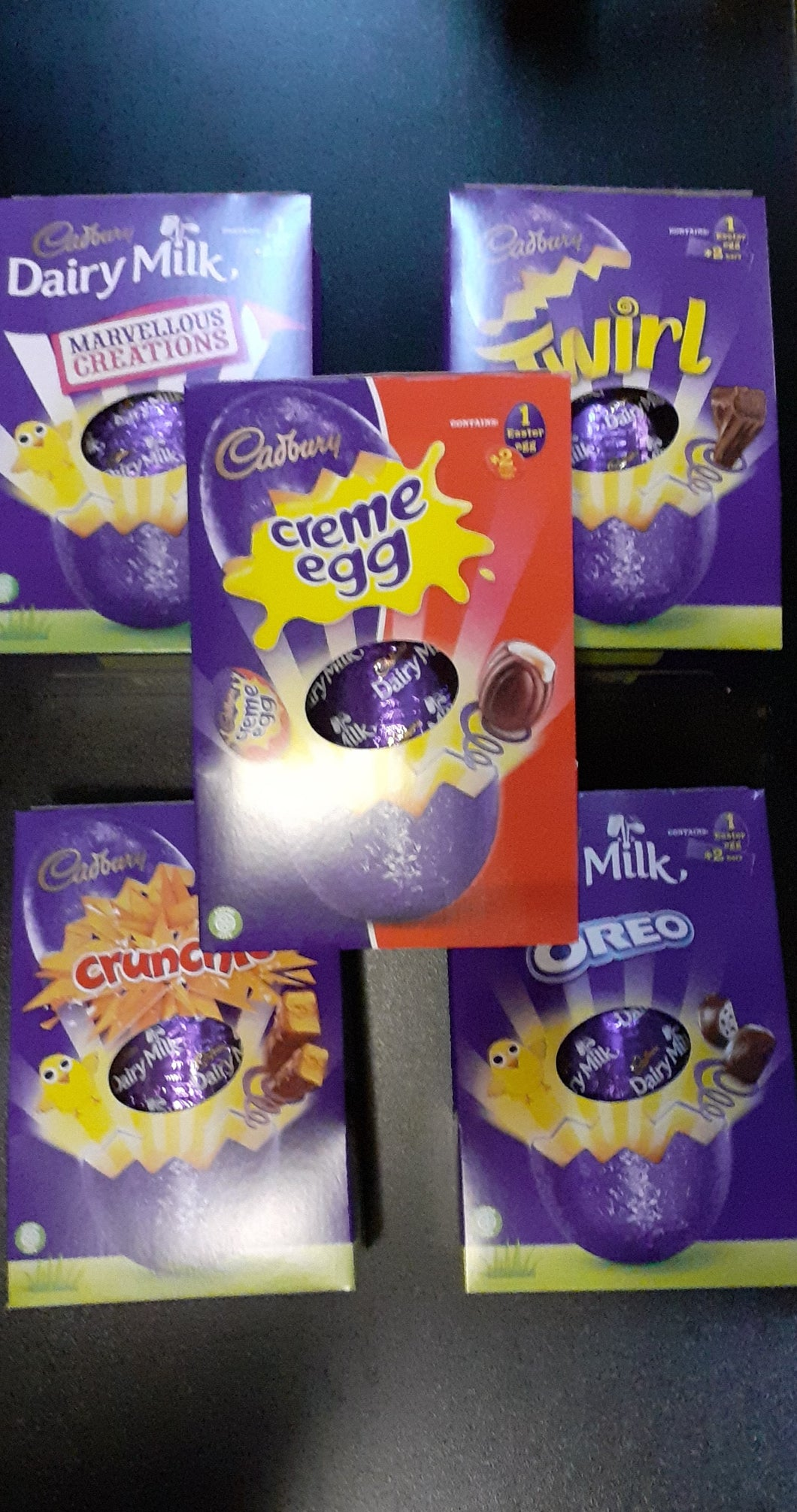 ASSORTED IMPORTED CADBURY MEDIUM HOLLOW CHOCOLATE EGGS