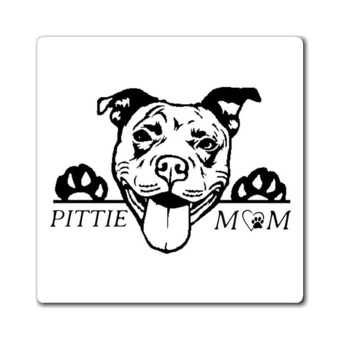 "Image of Paper products 3x3"" Pittie Mom Car Magnet"