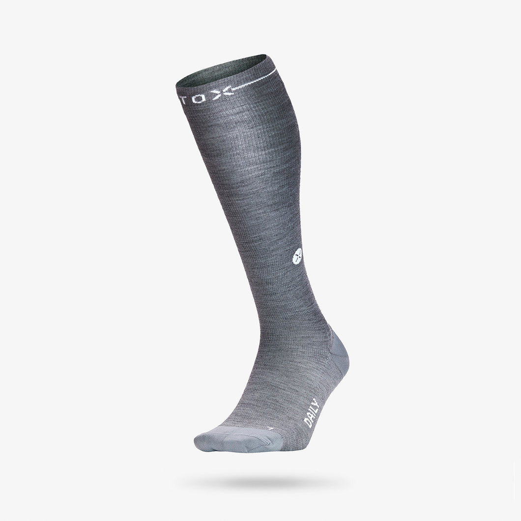 Daily Merino Socks Women - Silver Grey / White