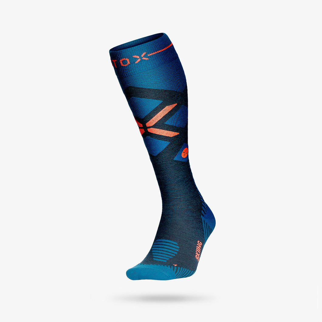 Skiing Socks Men - Teal / Red