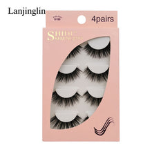 Load image into Gallery viewer, 4 Pairs Long Natural Mink Eyelashes