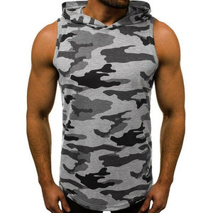Men Fitness Bodybuilding Hooded Tee Shirt
