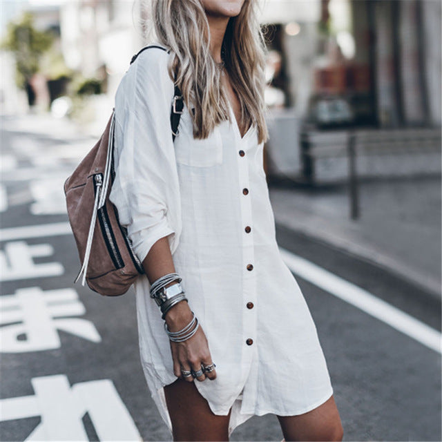 White & Black Long Blouse Shirts for Women