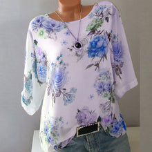 Load image into Gallery viewer, Plus Size Women Summer Floral Chiffon Blouses