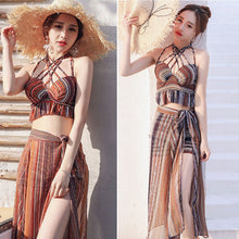 Load image into Gallery viewer, Retro Set Womens Strap Cover Up Bikini