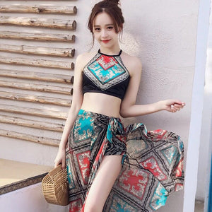 Women Print High Waist Swimsuit Bikini