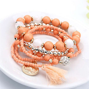 Multilayer Women Rhinestone Beads  Bracelets
