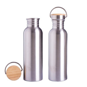 Stainless Steel Outdoor Water Bottle With Handle And Bamboo Lid